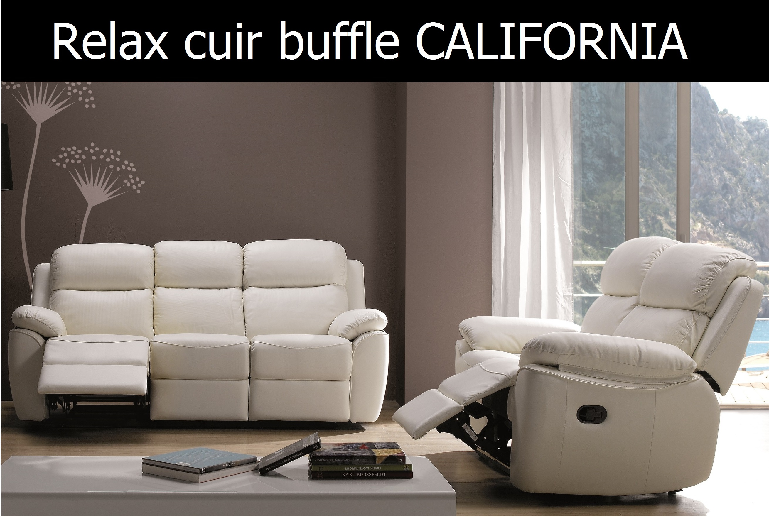 Salon canap relax en cuir buffle 3 2 places fauteuil for Canape relax cuir pas cher