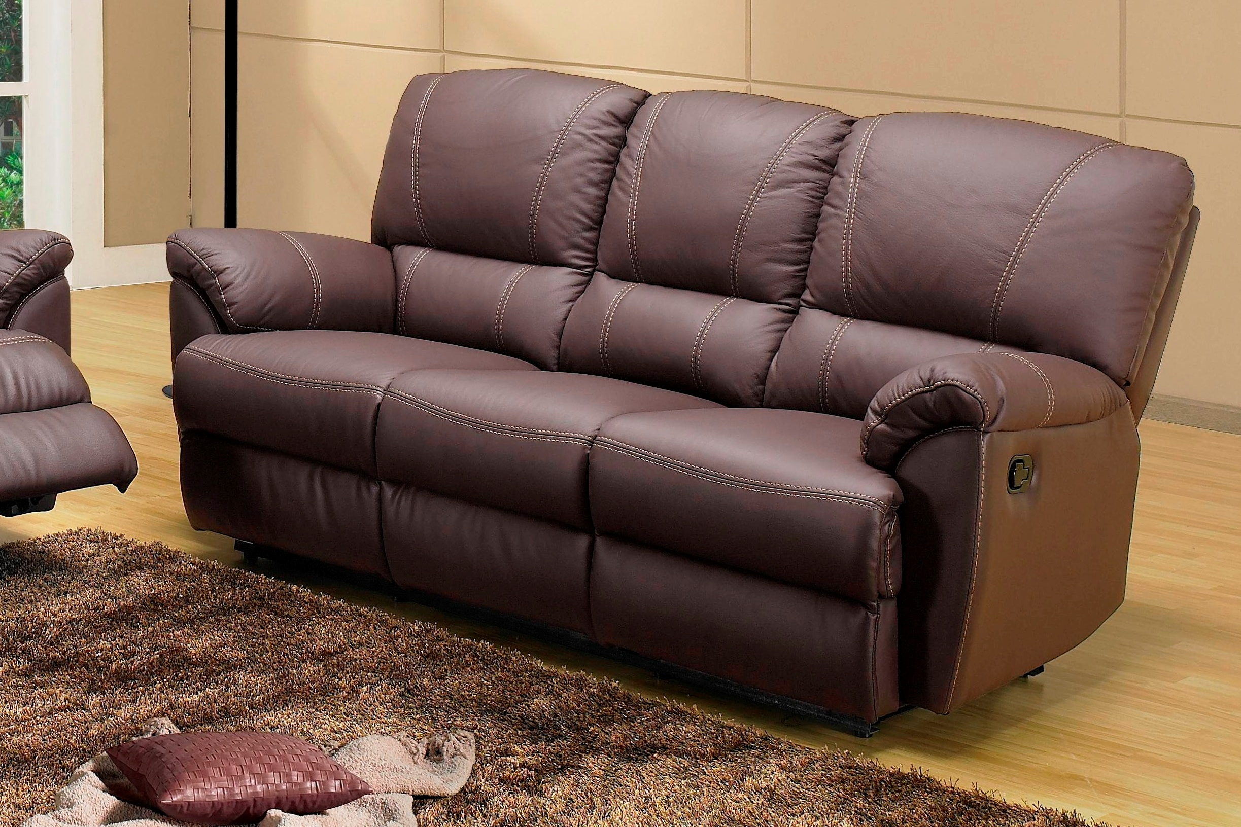 Salon canap relax en cuir buffle 3 2 places fauteuil relaxation ebay - Salon en cuir de buffle ...